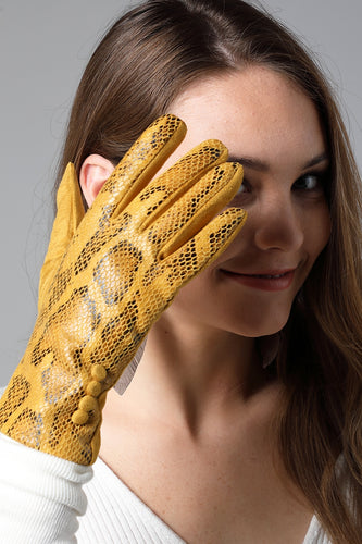 Snake Print Faux Suede Gloves