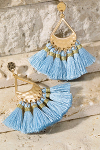 Hammered Metal and Tassel Light Blue