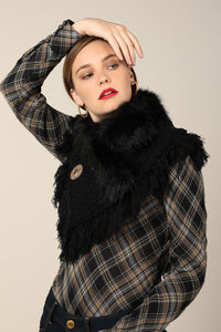 Faux Fur Knitted Scarf Black