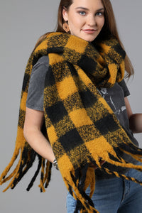 Plaid Scarf Black and Yellow