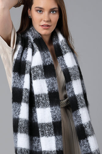 Plaid Scarf Black and White