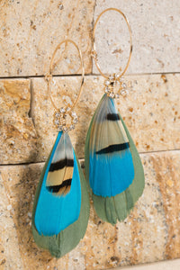 Blue Light Feather and Crystal Earrings
