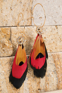 Red Light Feather and Crystal Earrings