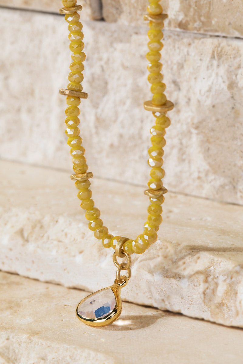 Sparkling Beaded Necklace Yellow