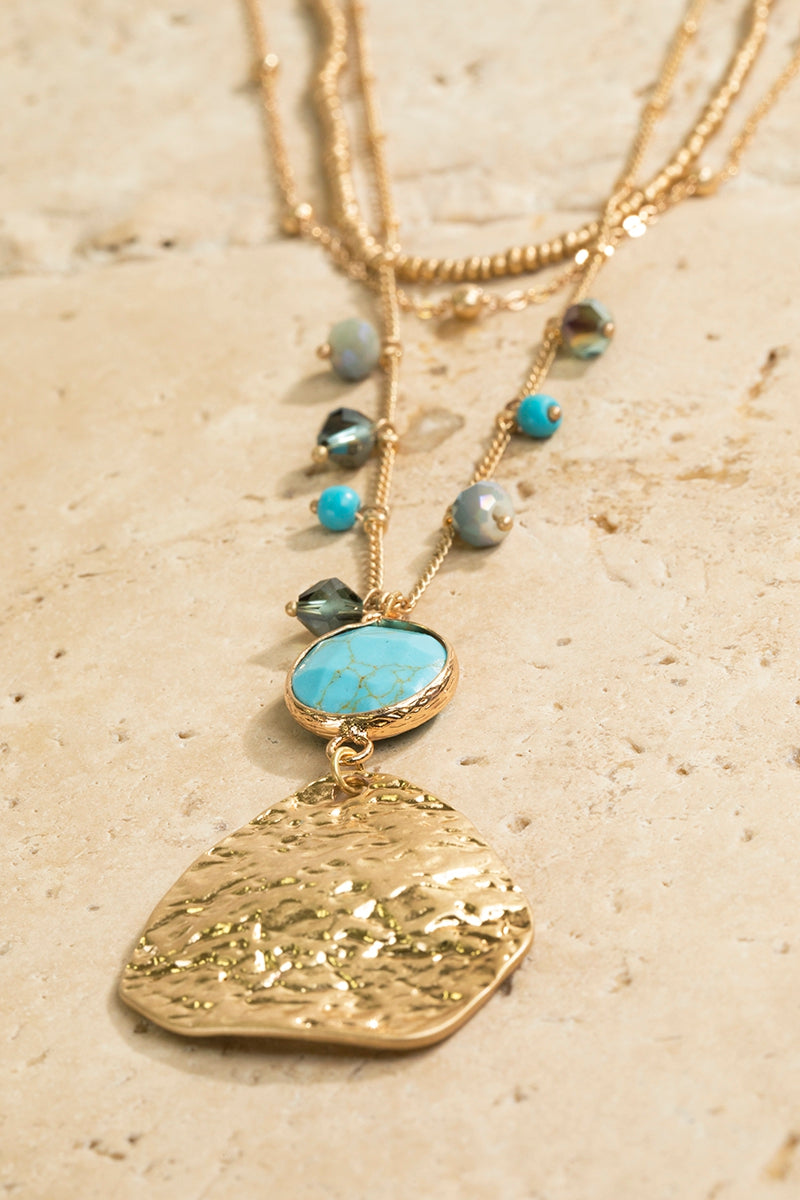 Layered Hammered Metal Turquoise