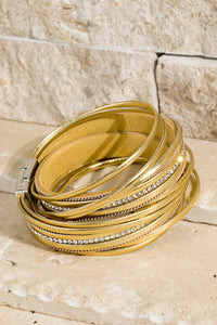 Layer Leather Bracelet Gold