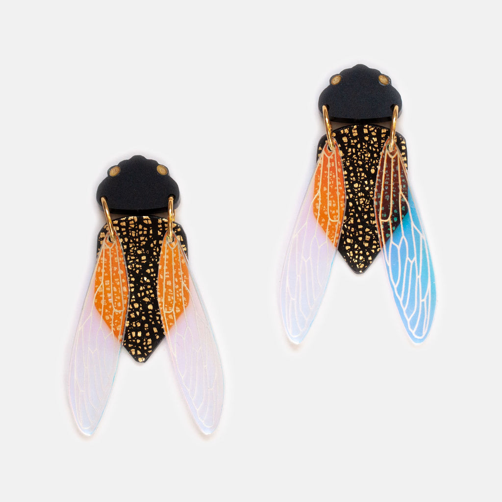 Black Prince Cicada Earrings - Statement