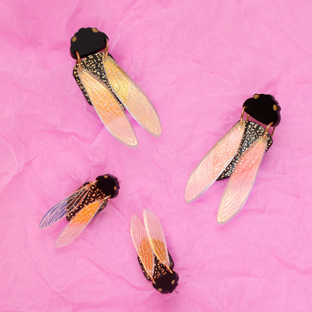 Black Prince Cicada Earrings - Mini