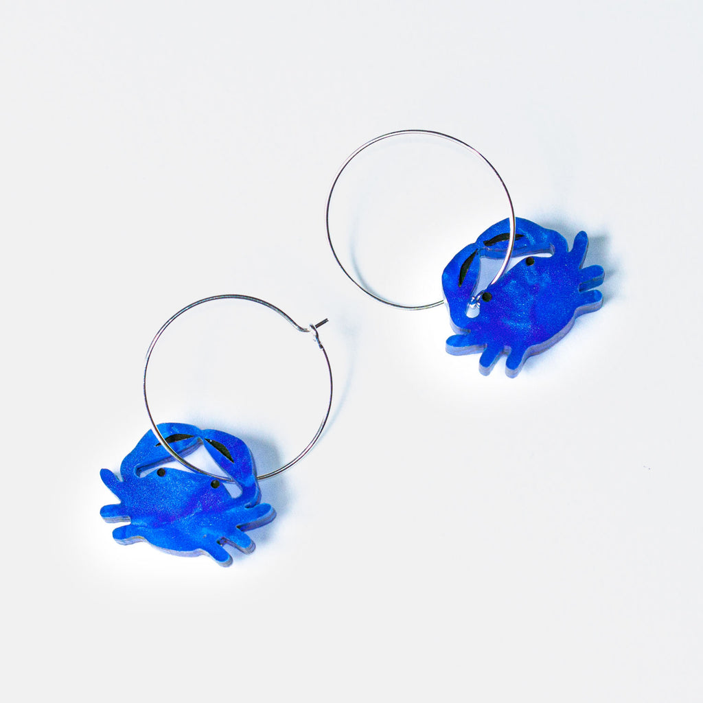 Blue Crab Hoop Earrings