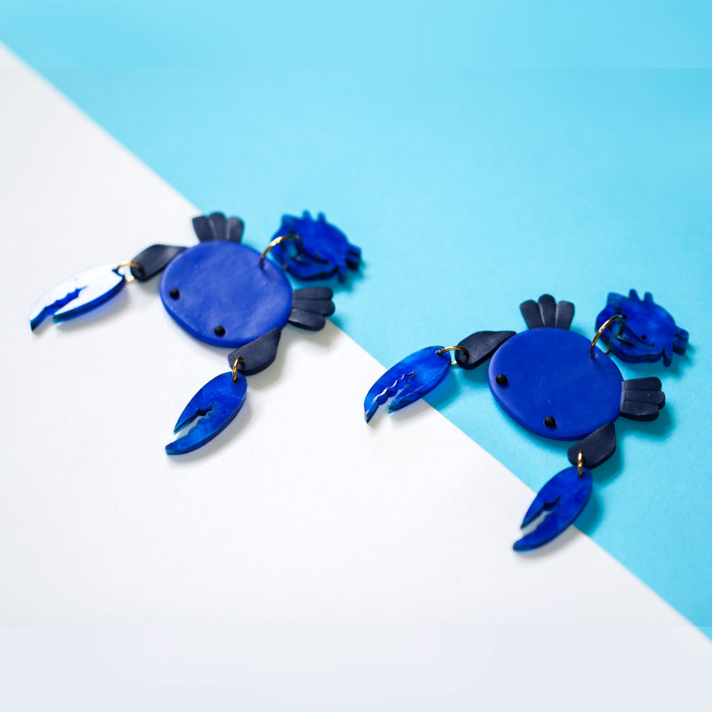 Blue Swimmer Crab Earrings