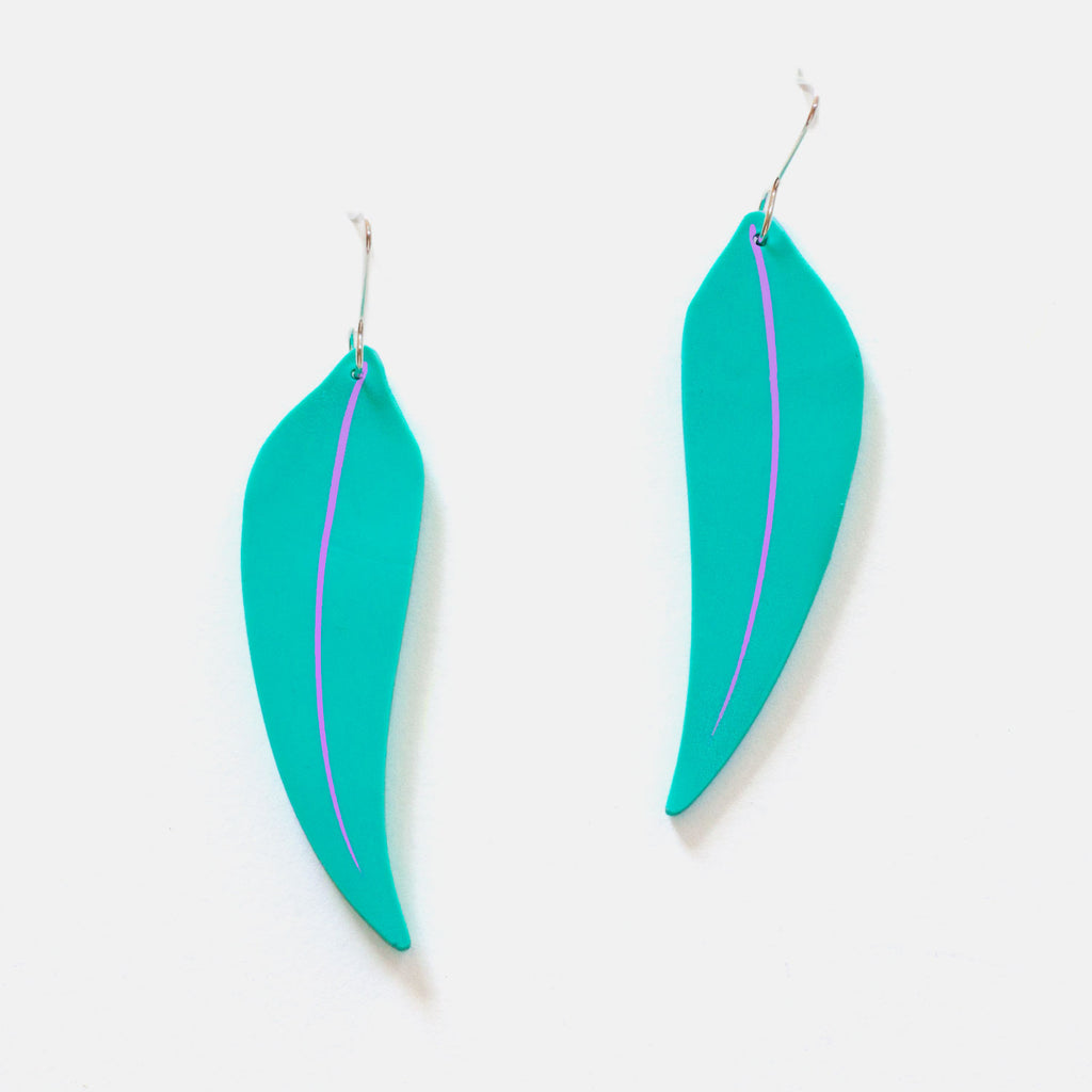 Aqua Eucalyptus Leaf Earrings