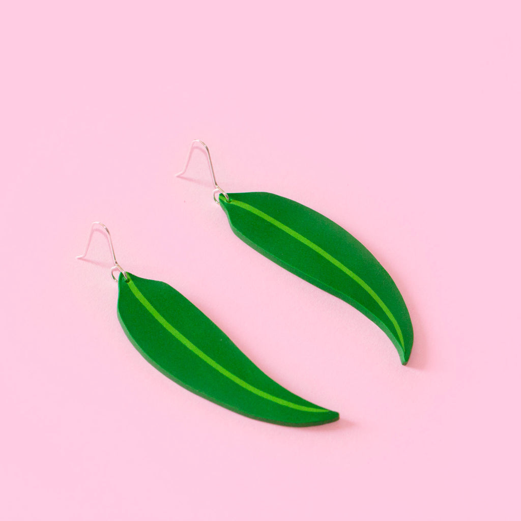 Green Eucalyptus Leaf Earrings