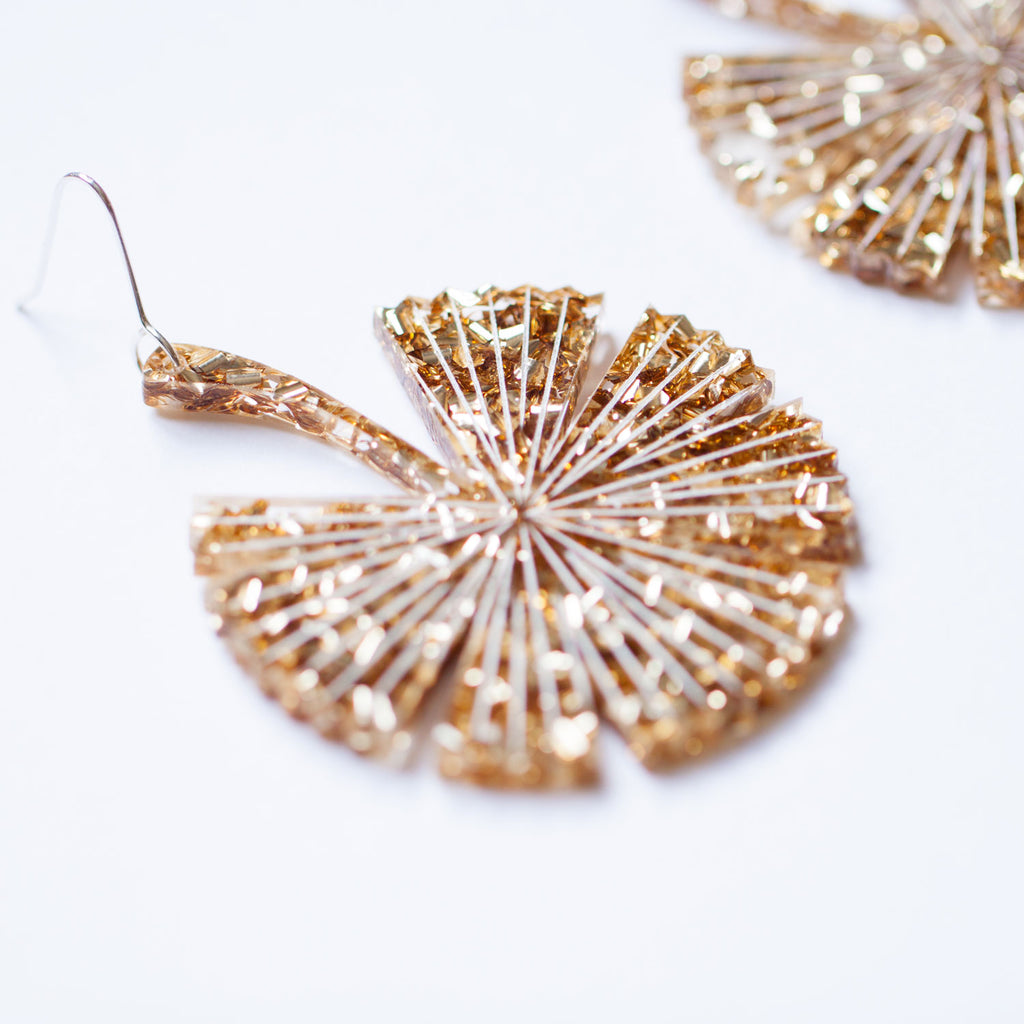PRE-ORDER: Gold Fan Palm Earrings