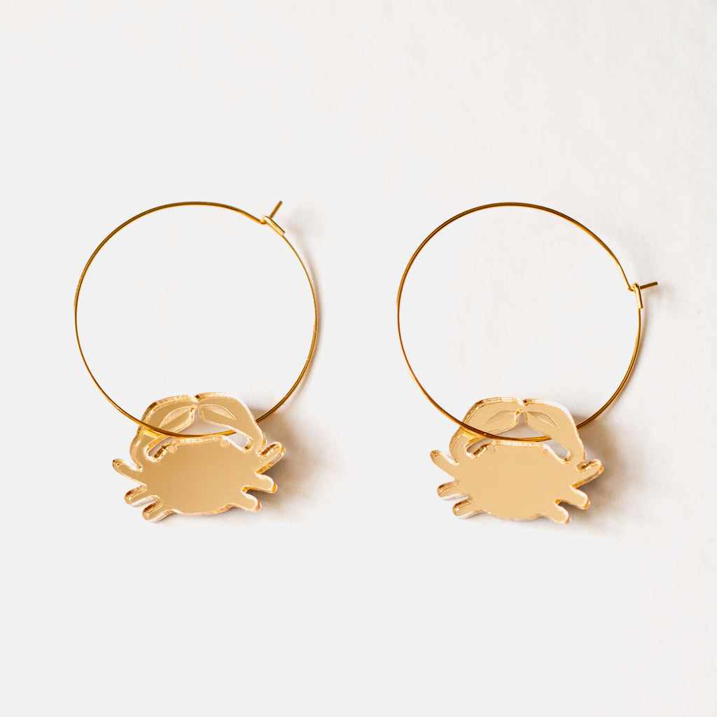 Gold Crab Hoop Earrings