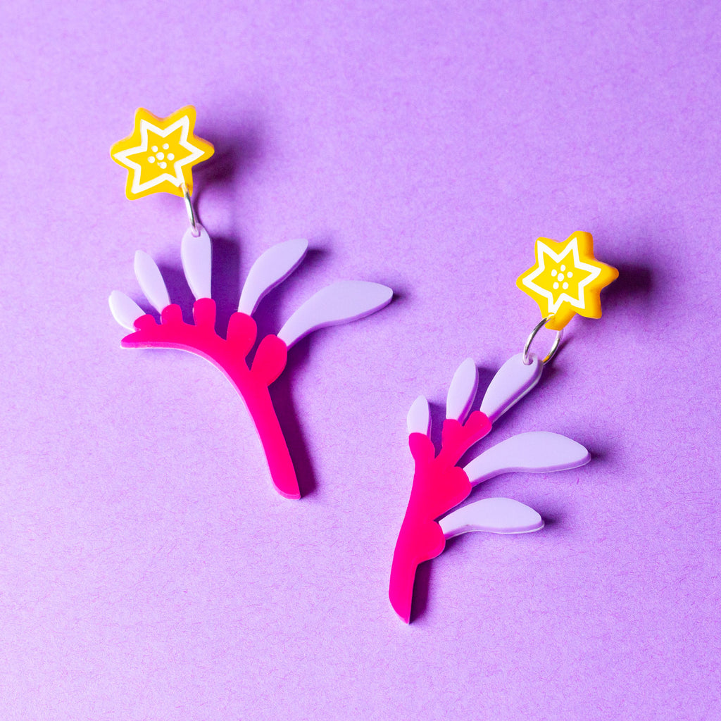 Roo Paw Earrings - Magenta & Lilac