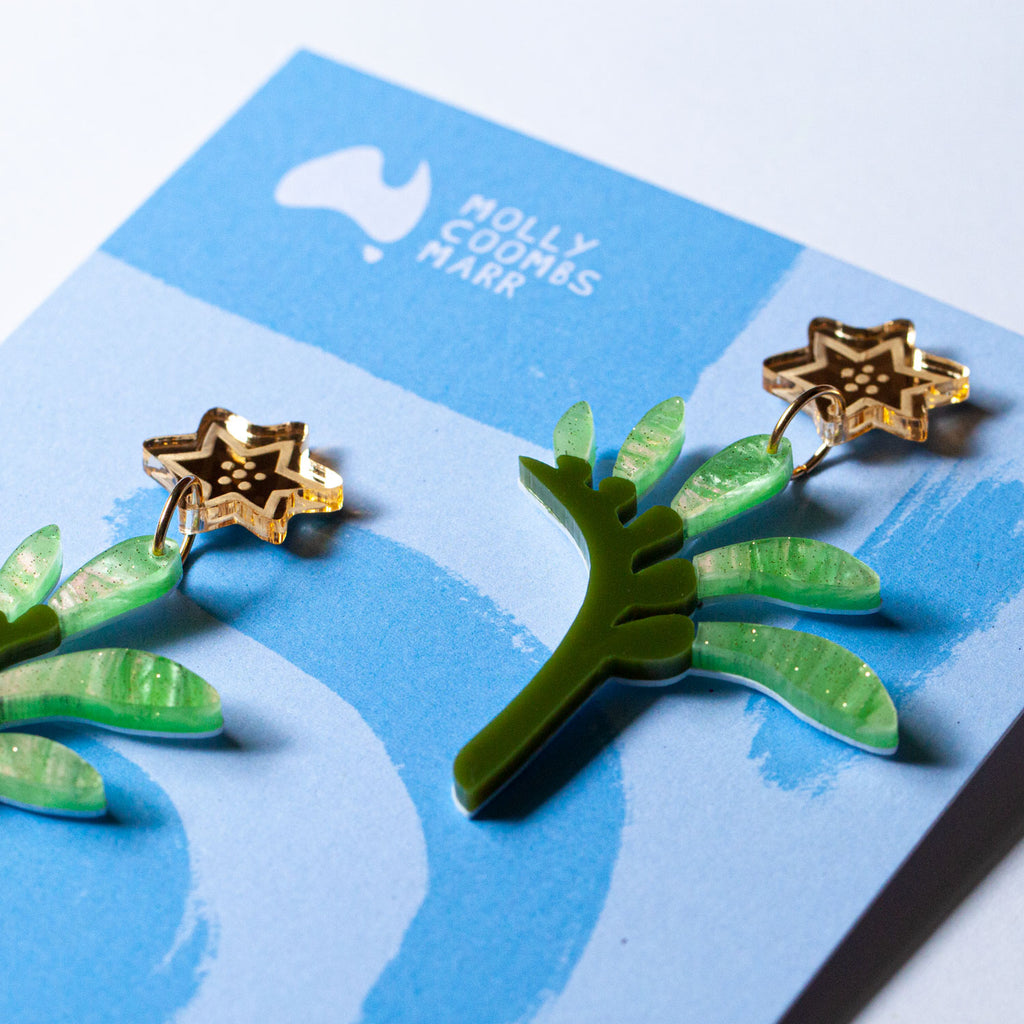 Roo Paw Earrings - Pistachio & Olive