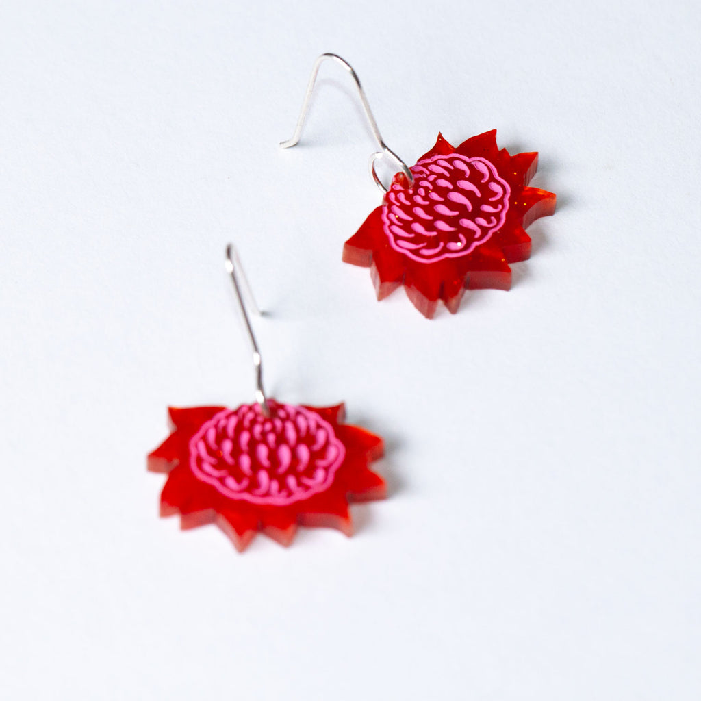 Mini Waratah Earrings