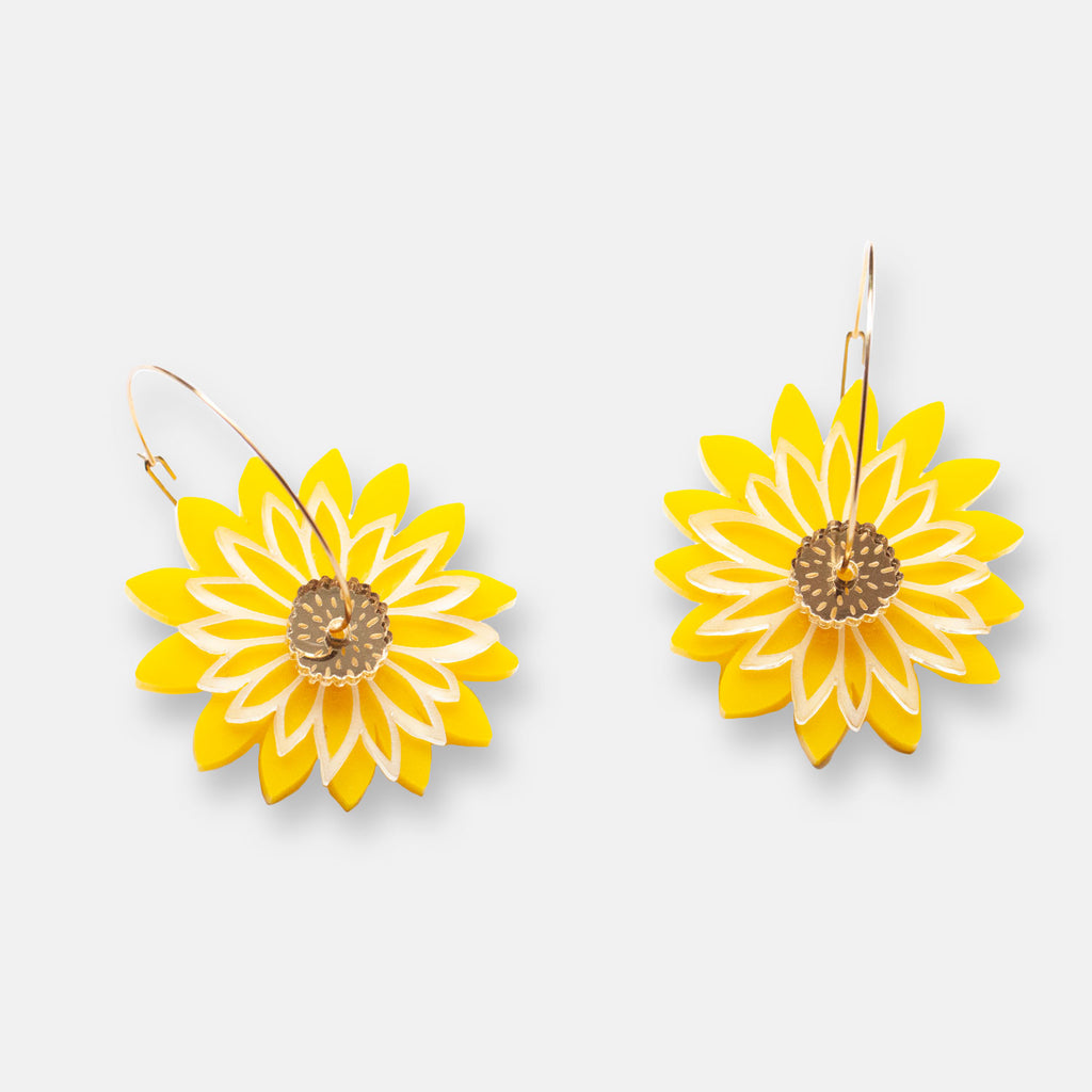 Paper Daisy Hoop Earrings - Yellow