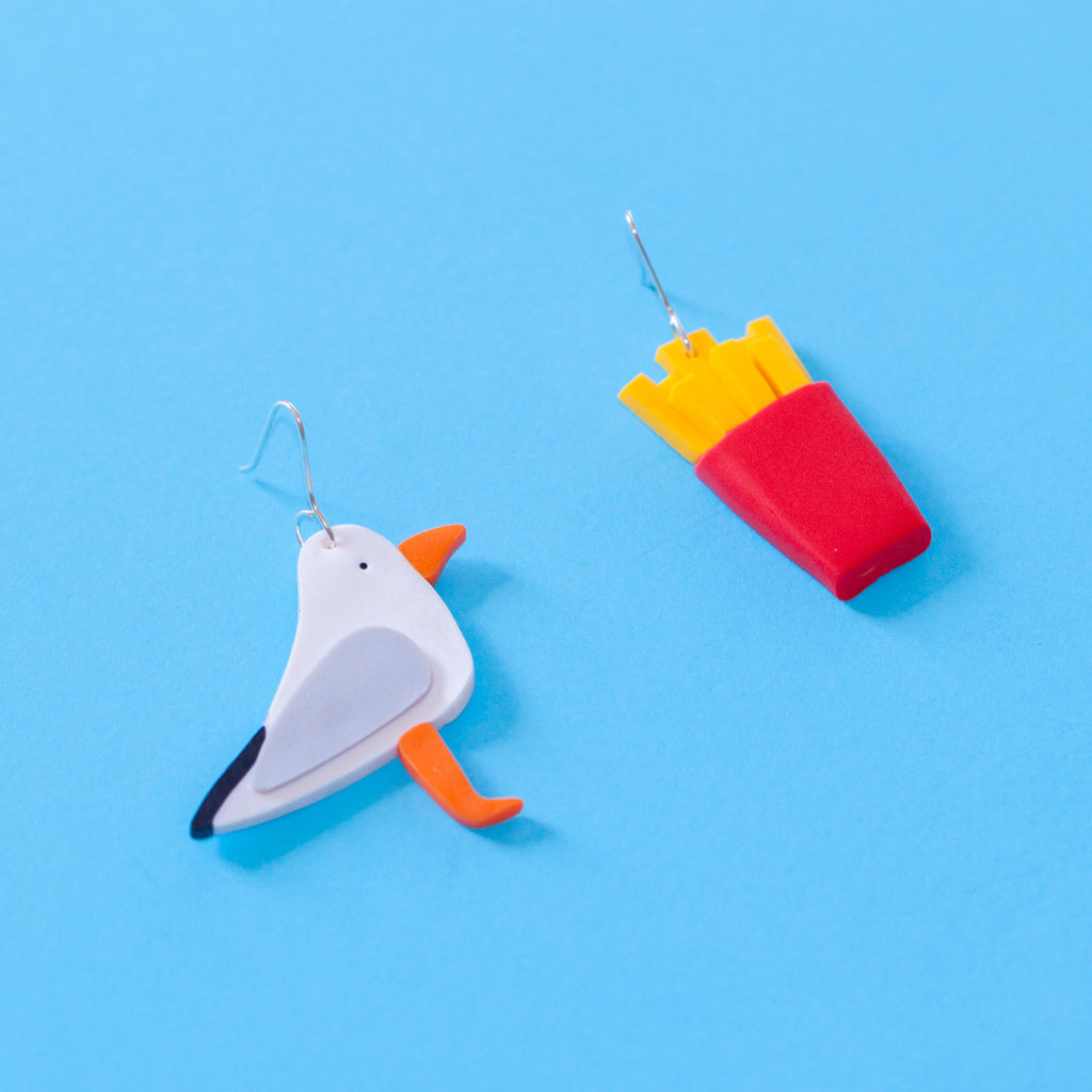 Seagull and Chip Drop Earrings