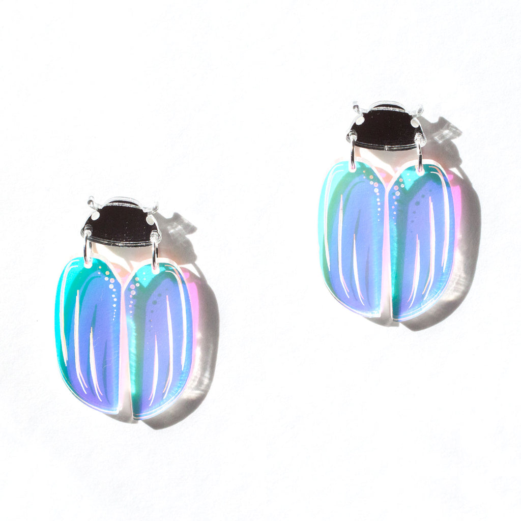 Silver Christmas Beetle Earrings
