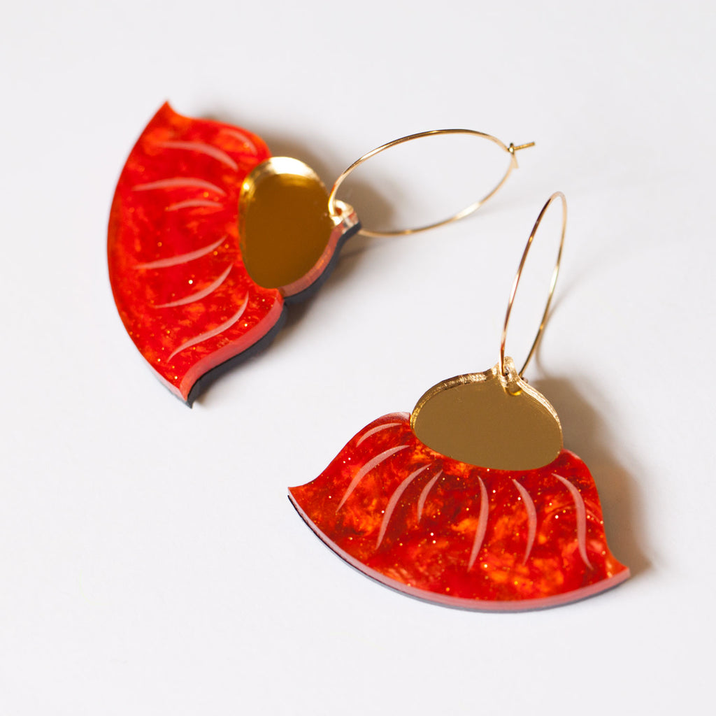 Gum Blossom Hoop Earrings - Red & Gold
