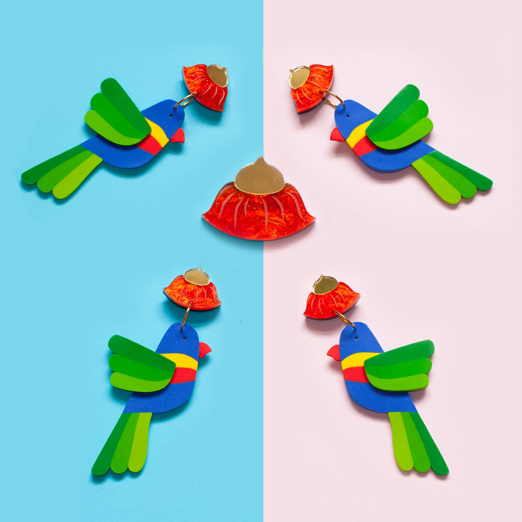 Snazzy Rainbow Lorikeet Earrings