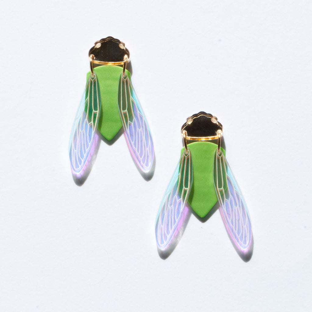 Green Grocer Cicada Earrings - Statement