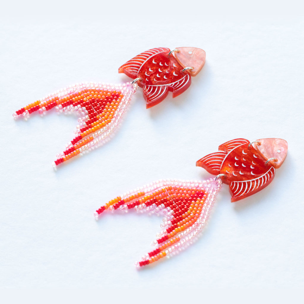 PRE-ORDER: Orange Seaperch Earrings - Statement