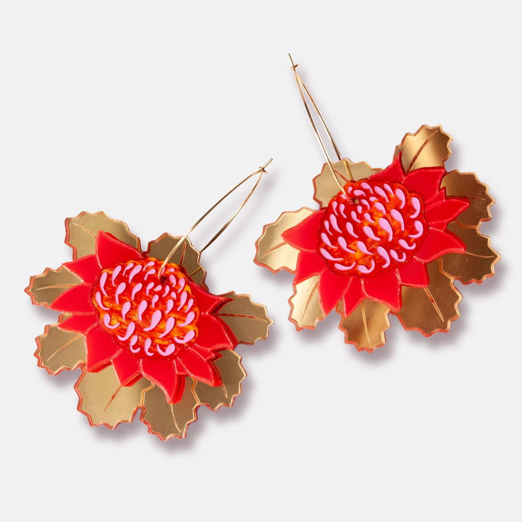 PRE-ORDER: Waratah Hoop Earrings