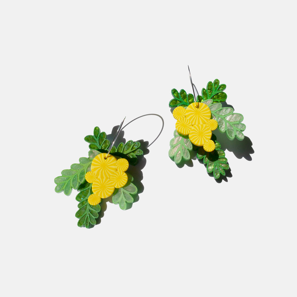 Sunshine Wattle Hoop Earrings