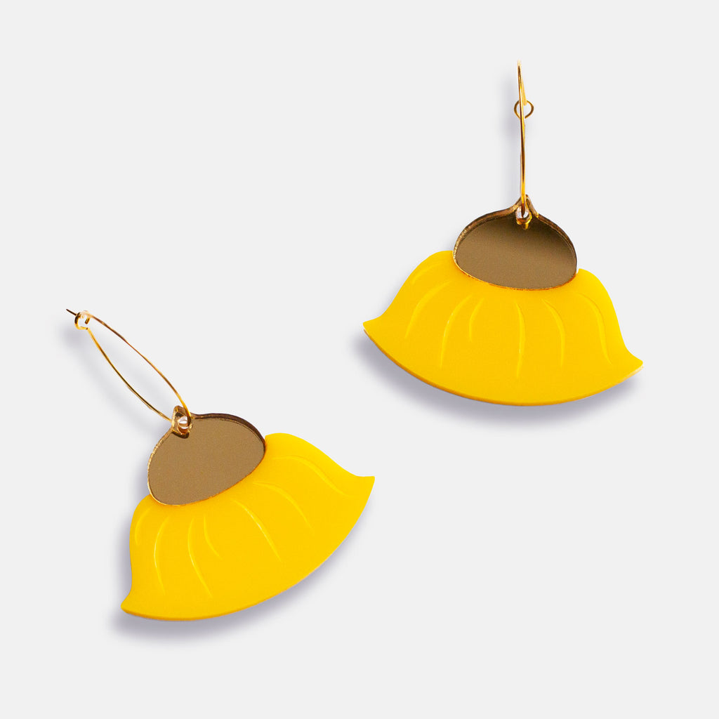 Gum Blossom Hoop Earrings - Yellow & Gold