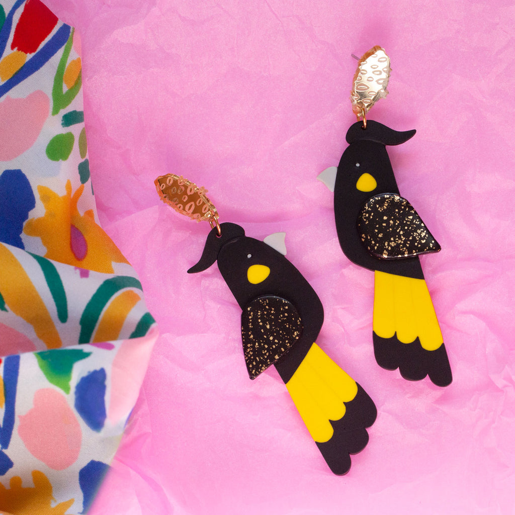 Snazzy Yellow-Tailed Black Cockatoo Earrings