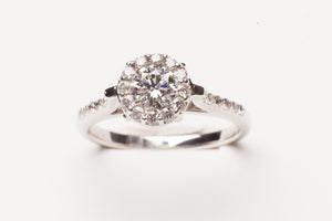 Lady's Engagement Ring 14KT WG  One 0.50Ct Round G Si1 Diamond gia 6147004651 .82cttw