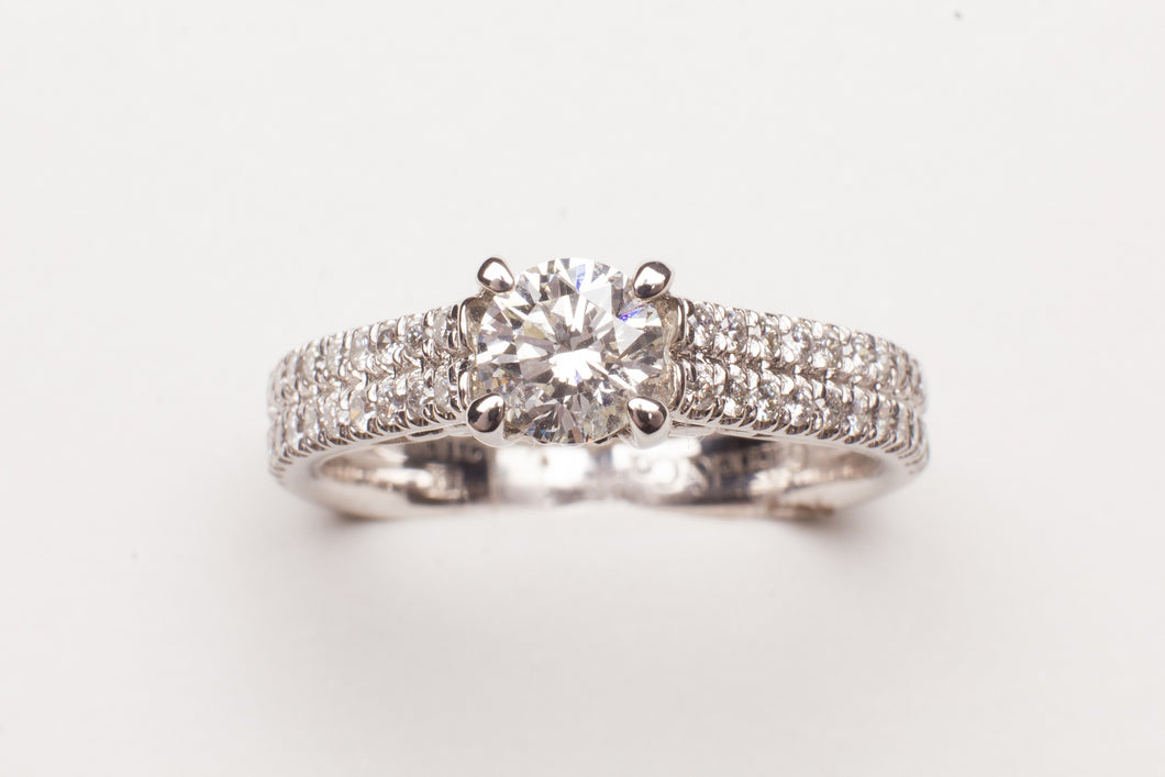 14KT WG .34CTTW RD DIA 2 ROW W .60CT RD G/H SI2