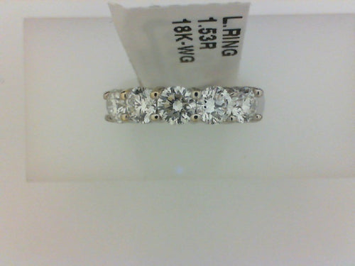 18KT WG 1.58CTTW5 DIA PRONG SET BAND