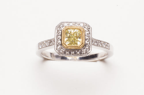 Lady's Two-Tone Prong Set Fashion Ring With 52=0.31Tw Round Diamonds And One 0.37Ct Princess Cut Yellow Diamond
