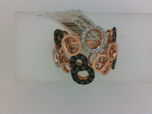 14KT RG 36 RD DIA .09CTTW 40 BLKDIA .50CTTW FASHION RING