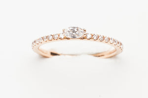 18KT RG STACK RING WITH .34CTTW MQ/RD DIA
