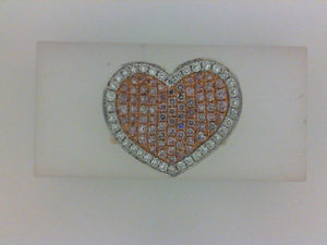 18KT ROSE GOLD .55CTTW PINK DIAMOND/.33CTTW RD DIA  HEART RING
