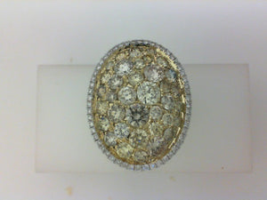18KT YG .47CTTW RD DIA/3.16CTTW YELL DIA OVAL FASHION RING