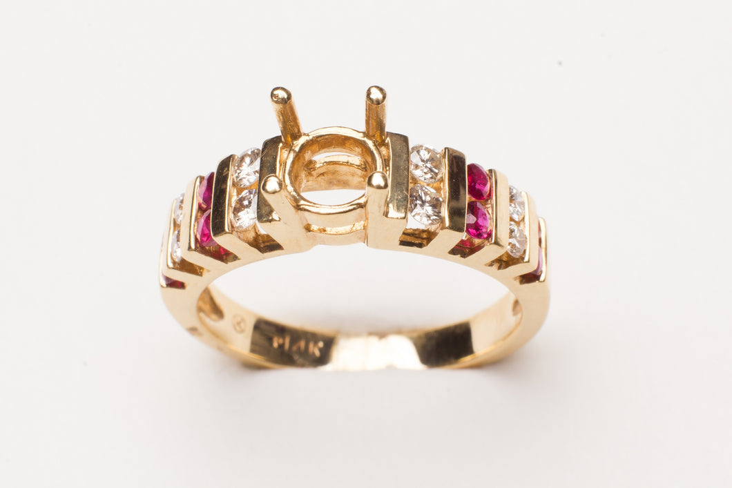 14KT YELLOW GOLD  RUBY & DIA SEMI MTG