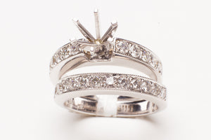 18KT WG 1.02CTTW 22 RD DIA WEDDING SET