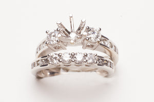 18KT WG 1.36CTTW 22 RD DIA WEDDING SET