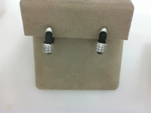 .27CT TW DIA RUBBER CORD EARRINGS