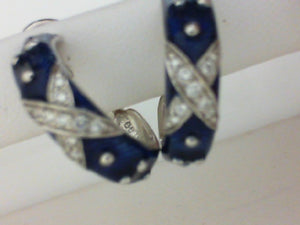 18KT WG .28CT DIA W BLUE ENAMEL HOOP EARRINGS