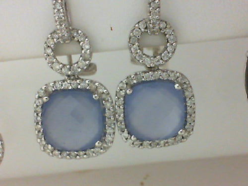18KT WG 10.36CTTW CALCEDONY & DIA EARRINGS