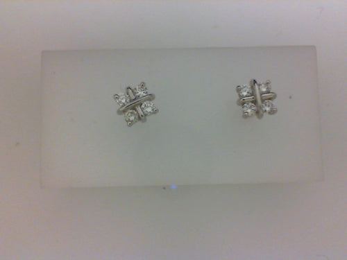 18KT WG .35CT TW DIAMOND EARRINGS