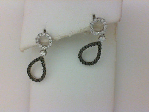 14KT WG .40CTTW RD DIA W .30CTTW BLK DIA EARRINGS
