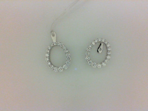 14KT WG 1.00CTTW OVAL EARRING JACKET