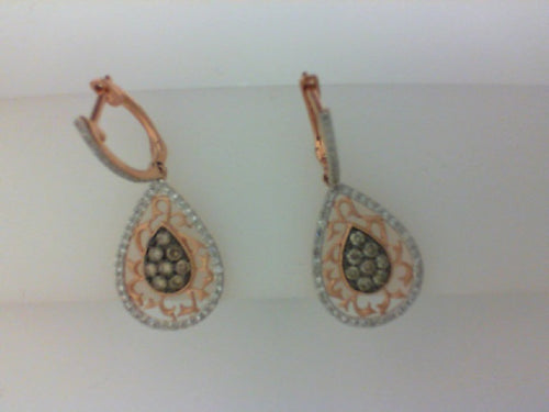 14KT RG .27CTTW 102 RD DIA/ .34CTTW BRWN  16 RD DIA DANGLE EARRINGS